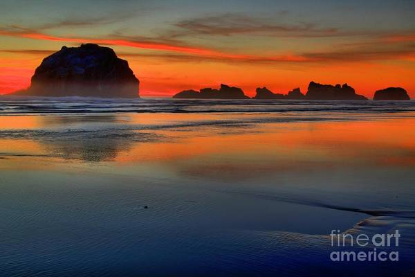 Bandon Beach Art Print featuring the photograph Bandon Foggy Fire by Adam Jewell