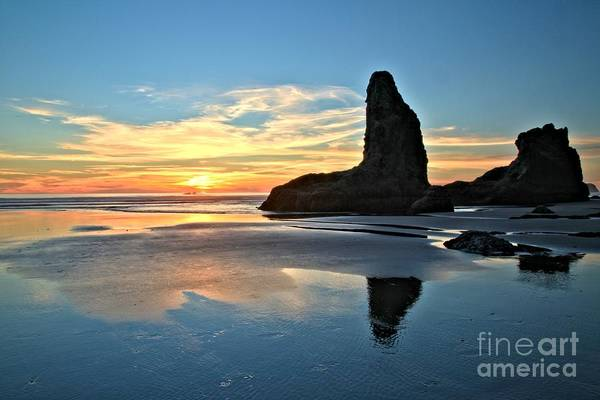 Bandon Beach Art Print featuring the photograph Bandon Oregon Sunset by Adam Jewell