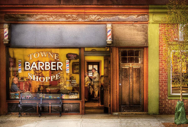 Hair Print featuring the photograph Barber - Towne Barber Shop by Mike Savad