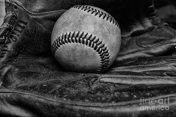 Paul Ward Art Print featuring the photograph Baseball Broken In Black And White by Paul Ward
