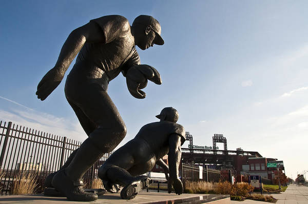 Baseball Statue At Citizens Bank Park Art Print featuring the photograph Baseball Statue At Citizens Bank Park by Bill Cannon