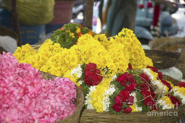 Flowers Art Print featuring the photograph Basket Of Flowers by Mini Arora