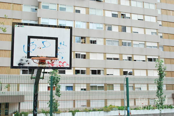 Basket Art Print featuring the photograph Basketball Court In A Social Neighbourhood by Luis Alvarenga