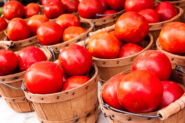 Agriculture Print featuring the photograph Baskets Of Tomatoes At A Farmers Market by Teri Virbickis