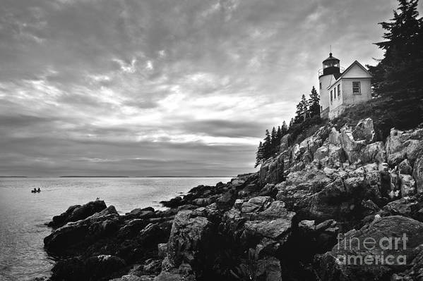 Bar Harbor Art Print featuring the photograph Bass Harbor Lighthouse At Dusk by Diane Diederich
