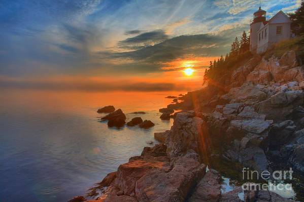Bass Harbor Lighthouse Art Print featuring the photograph Bass Harbor Sunset by Adam Jewell