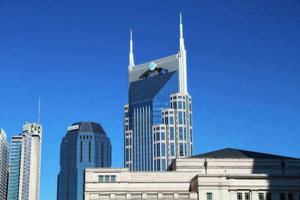 Batman Building And Nashville Skyline Art Print featuring the photograph Batman Building And Nashville Skyline by Dan Sproul