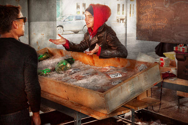 Amsterdam Market Art Print featuring the photograph Bazaar - I Sell Fish by Mike Savad