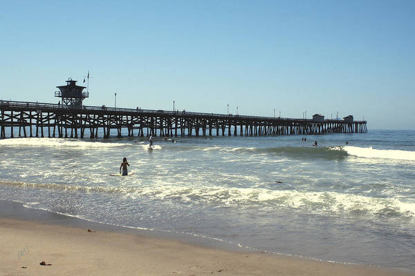 Orange County Art Print featuring the photograph Beach View With Pier 2 by Ben and Raisa Gertsberg