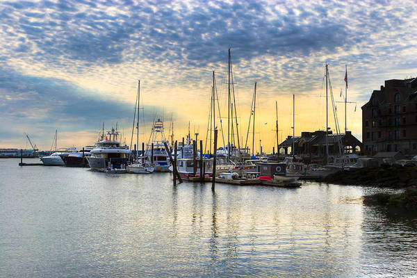 Boston Harbor Art Print featuring the photograph Beautiful Morning On Boston Waterfront by Mark E Tisdale