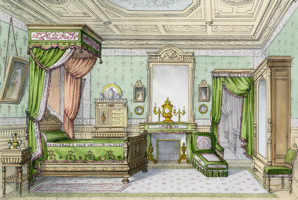 Interior Art Print featuring the drawing Bedroom In The Renaissance Style by French School