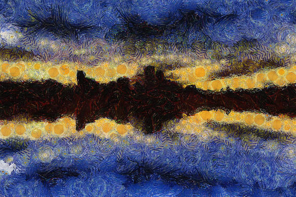 Skyline Art Print featuring the painting Before Sunset by Ayse Deniz