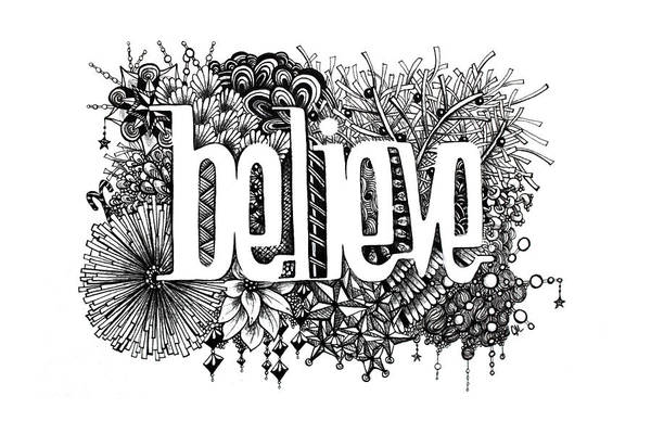 Zentangle Art Print featuring the drawing Believe by Christina Meeusen