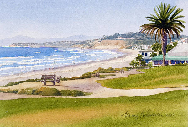 Pacific Art Print featuring the painting Bench At Powerhouse Beach Del Mar by Mary Helmreich