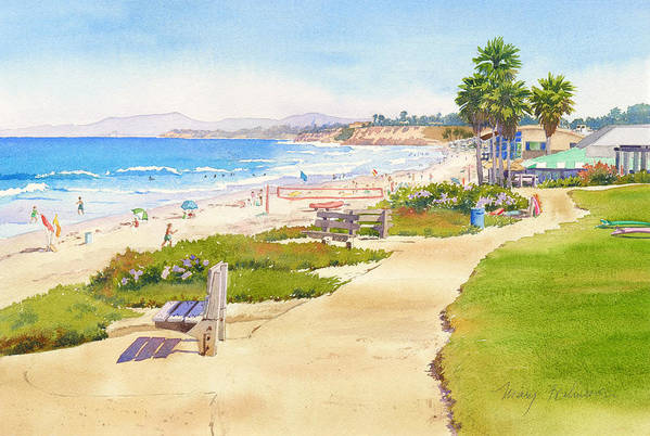 Beach Art Print featuring the painting Benches At Powerhouse Beach Del Mar by Mary Helmreich