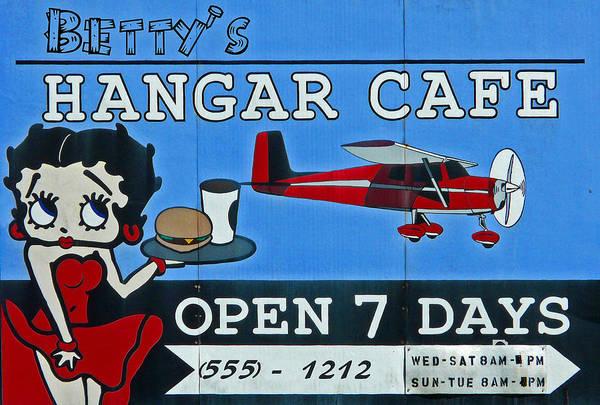 Googly Art Art Print featuring the photograph Betty's Hangar Cafe by Glenn McGloughlin
