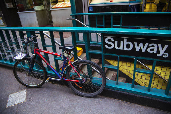 Bike Art Print featuring the photograph Bike At Subway Entrance by Garry Gay