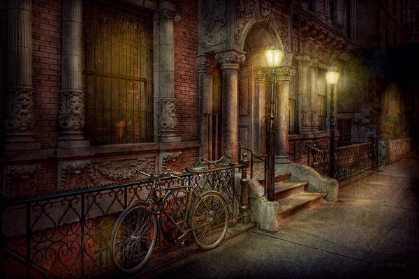 Savad Art Print featuring the photograph Bike - Ny - Greenwich Village - In The Village by Mike Savad