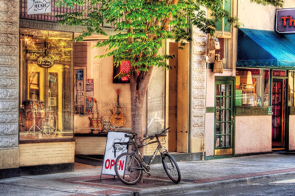 Savad Art Print featuring the photograph Bike - The Music Store by Mike Savad