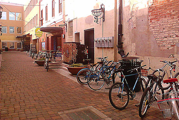 Bikes Art Print featuring the photograph Bikes In Alley by Emily Clingman
