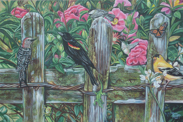Birds Art Print featuring the painting Birds On A Fence by Diann Baggett