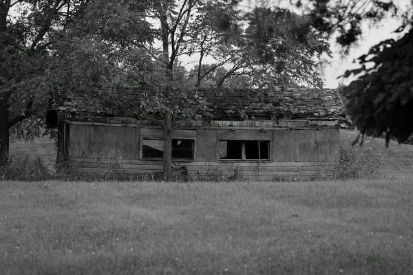 Building Art Print featuring the photograph Black And White Shed by Steven Woodard