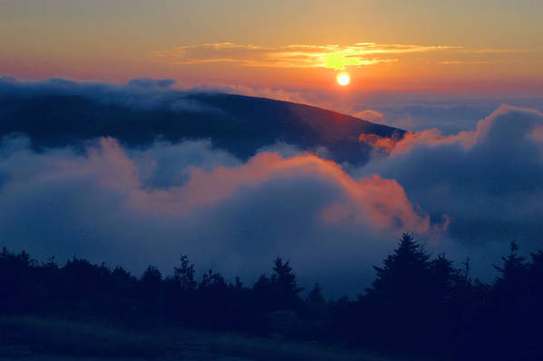 Cadillac Mountain Art Print featuring the photograph Blue Hill Sunset - Acadia by Stephen Vecchiotti
