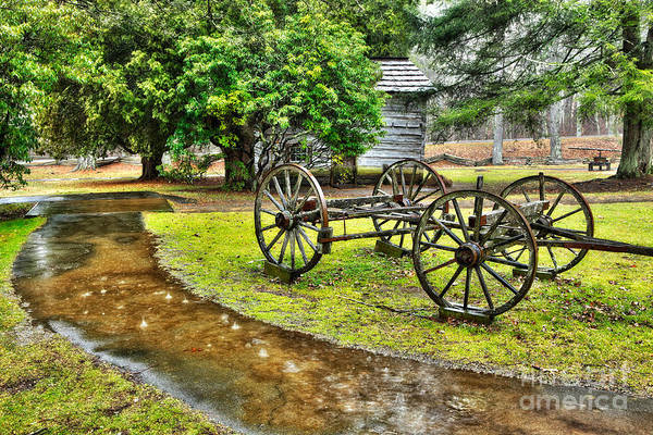 Blue Ridge Parkway Art Print featuring the photograph Blue Ridge Parkway Vintage Wagon In The Rain I by Dan Carmichael