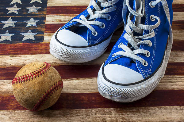 Blue Art Print featuring the photograph Blue Tennis Shoes And Baseball by Garry Gay