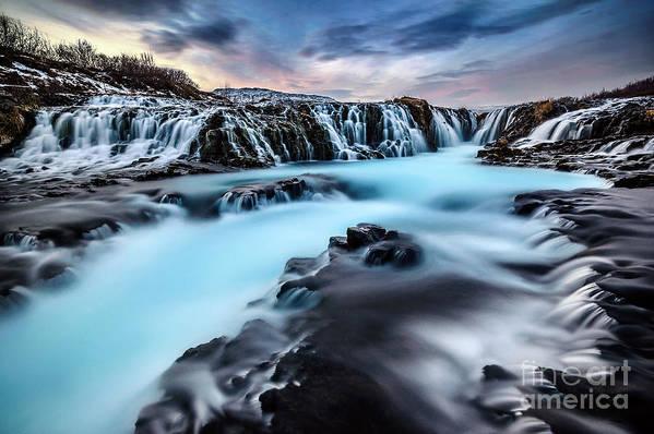 Blue Art Print featuring the photograph Blue Waterfalls by Naphat Chantaravisoot