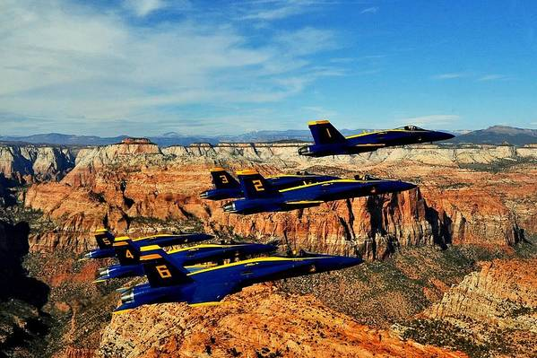 Blue Angels Art Print featuring the photograph Blues Over Zion by Benjamin Yeager