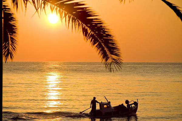 Vacations Art Print featuring the photograph Boat At Sea Sunset Golden Color With Palm by Raimond Klavins