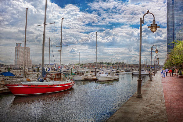 Savad Art Print featuring the photograph Boat - Baltimore Md - One Fine Day In Baltimore by Mike Savad