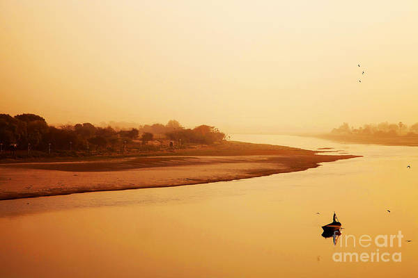 Travel Art Print featuring the photograph Boat On Yamuna River by Sorin Rechitan