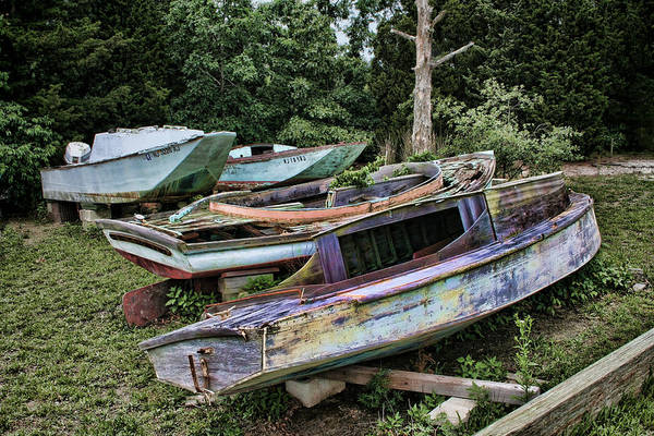 Boats Art Print featuring the photograph Boat Yard by Heather Applegate