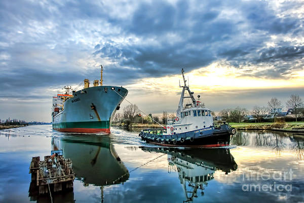 Tugboat Art Print featuring the photograph Boats On A Canal by Olivier Le Queinec