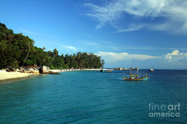 Boats Art Print featuring the photograph Boats With Beautiful Sea by Boon Mee