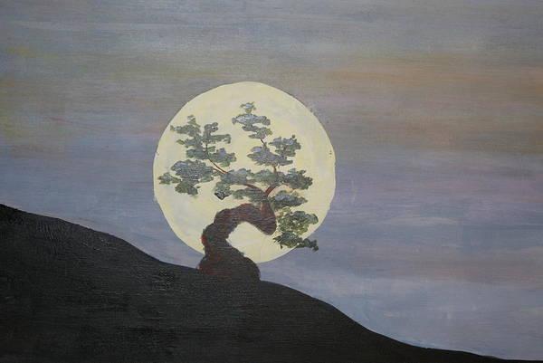 Acrylic Landscape Art Print featuring the painting Bonzai Moon by Steve Lucas