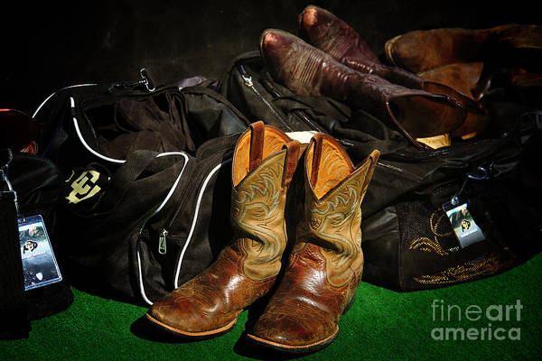 Boulder Art Print featuring the photograph Boots And Bags by Bob Hislop