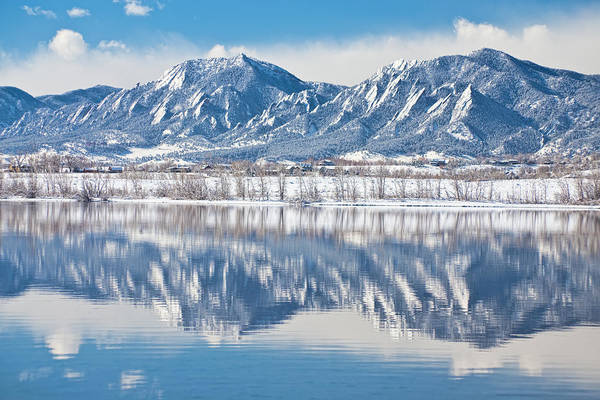 Winter Art Print featuring the photograph Boulder Reservoir Flatirons Reflections Boulder Colorado by James BO Insogna