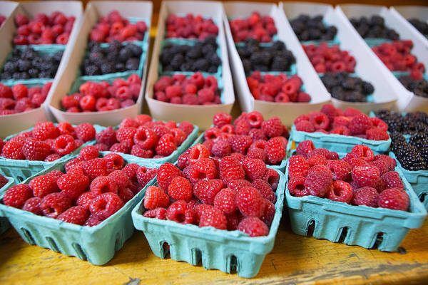 Raspberries Art Print featuring the photograph Bounty Of Berries by Caitlyn Grasso