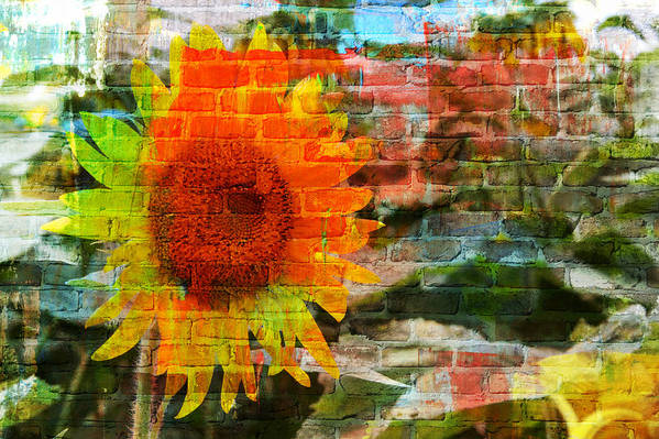 Sunflowers Art Print featuring the photograph Bricks And Sunflowers by Alice Gipson
