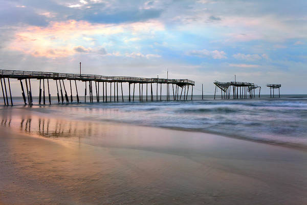 Outer Banks Art Print featuring the photograph Broken Dreams - Frisco Pier Outer Banks I by Dan Carmichael