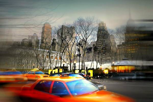 Urban Landscape Print featuring the photograph Bryant Park Taxi by Diana Angstadt