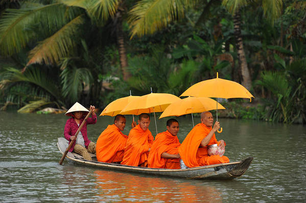 Buddhist Monk Art Print featuring the photograph Buddhist Monks In Mekong River by Dung Ma