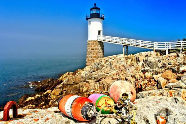 Robinson Point Lighthouse Art Print featuring the photograph Buoys At The Headlight by Adam Jewell