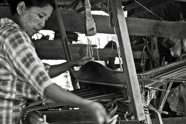 Woman Art Print featuring the photograph Burmese Woman Working With A Handloom Weaving. by RicardMN Photography