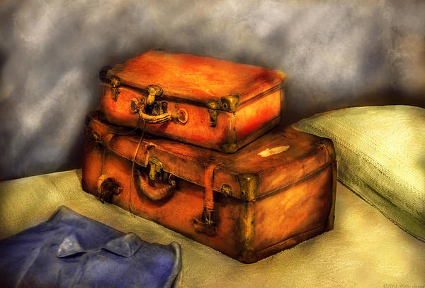 Savad Art Print featuring the photograph Business Man - Packed Suitcases by Mike Savad