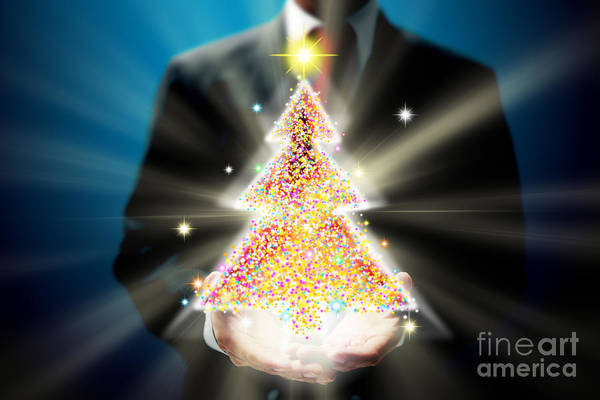Business Art Print featuring the mixed media Bussinessman With Christmas by Atiketta Sangasaeng