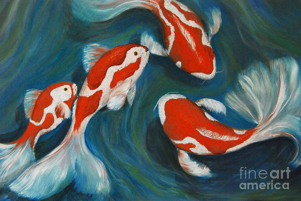 Koi Art Print featuring the painting Butterfly Koi by Nancy Bradley